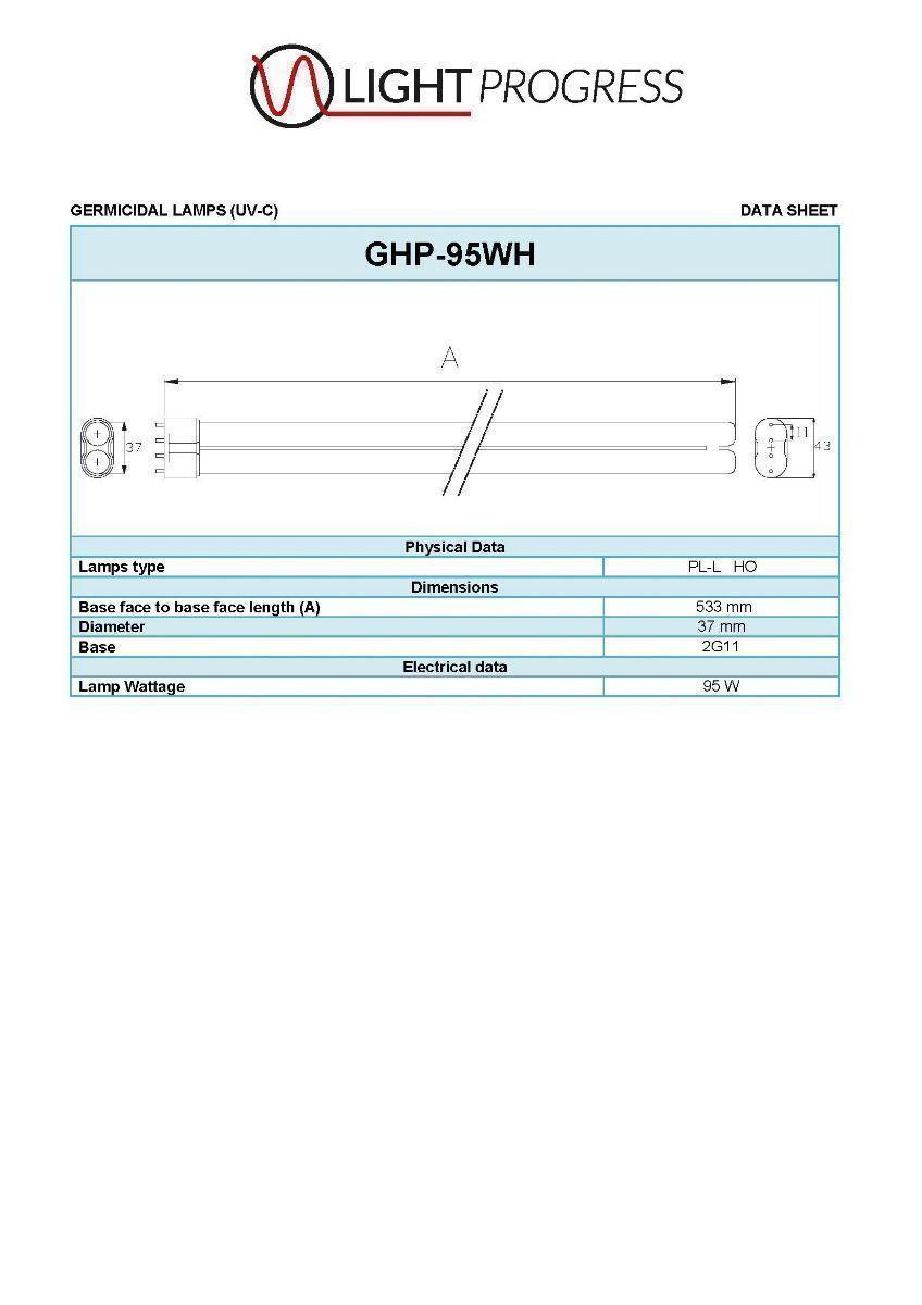 GHP-95WH LAMP (UV-C)