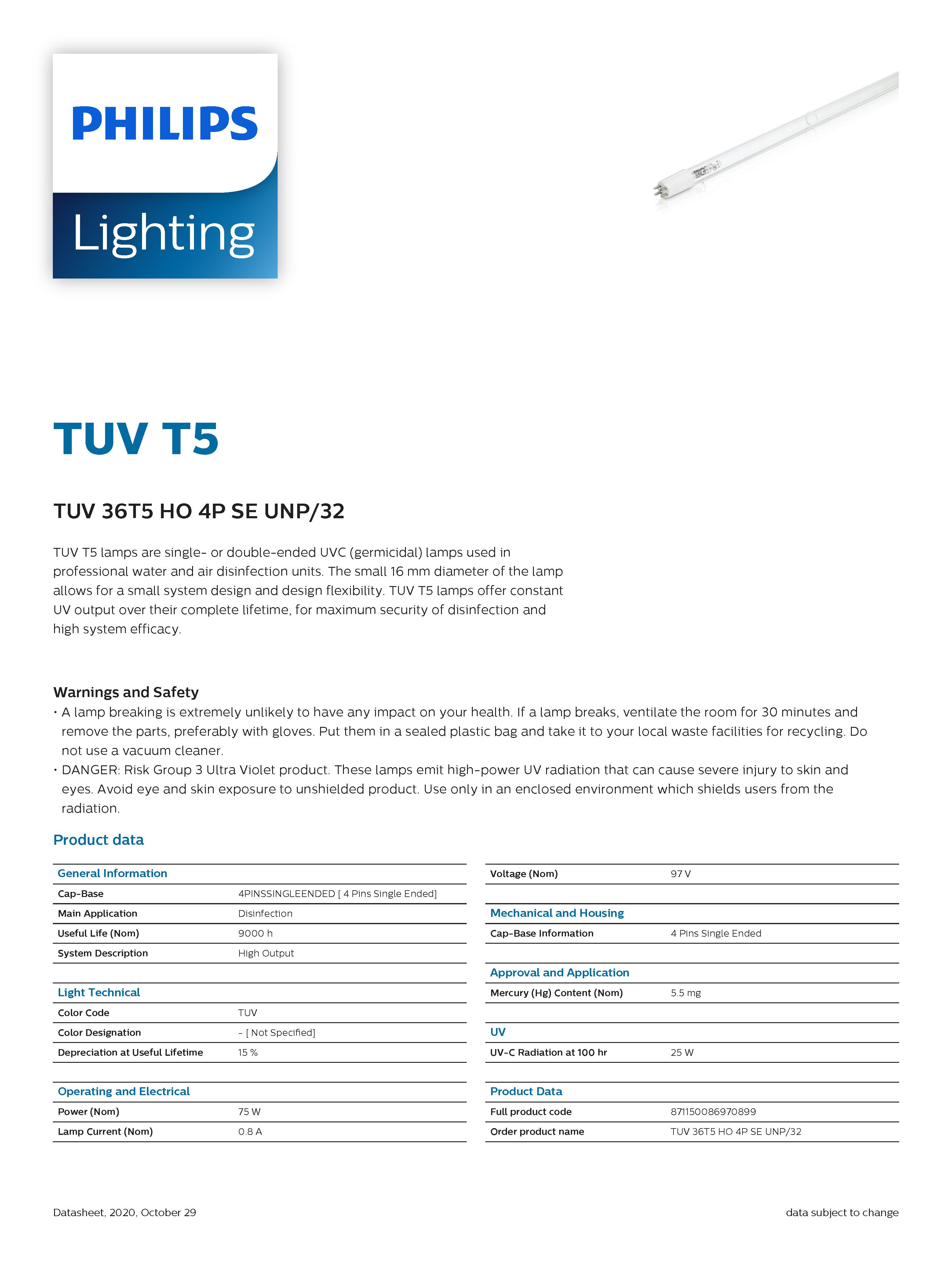 PHILIPS TUV 36 T5 HO 75W 4P-SE